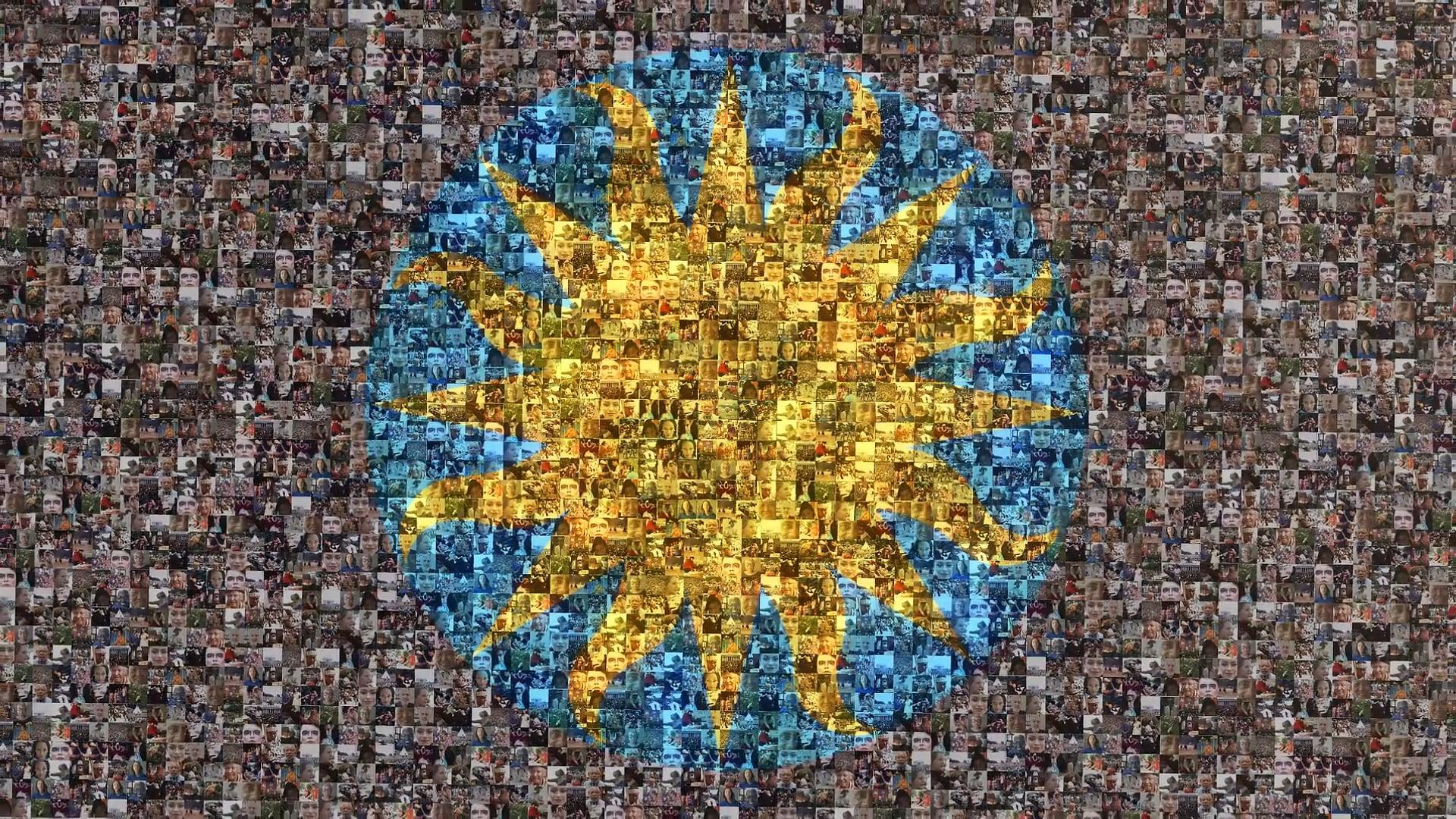 Smithsonian sunburst logo, made up of hundreds of tiny photographs.
